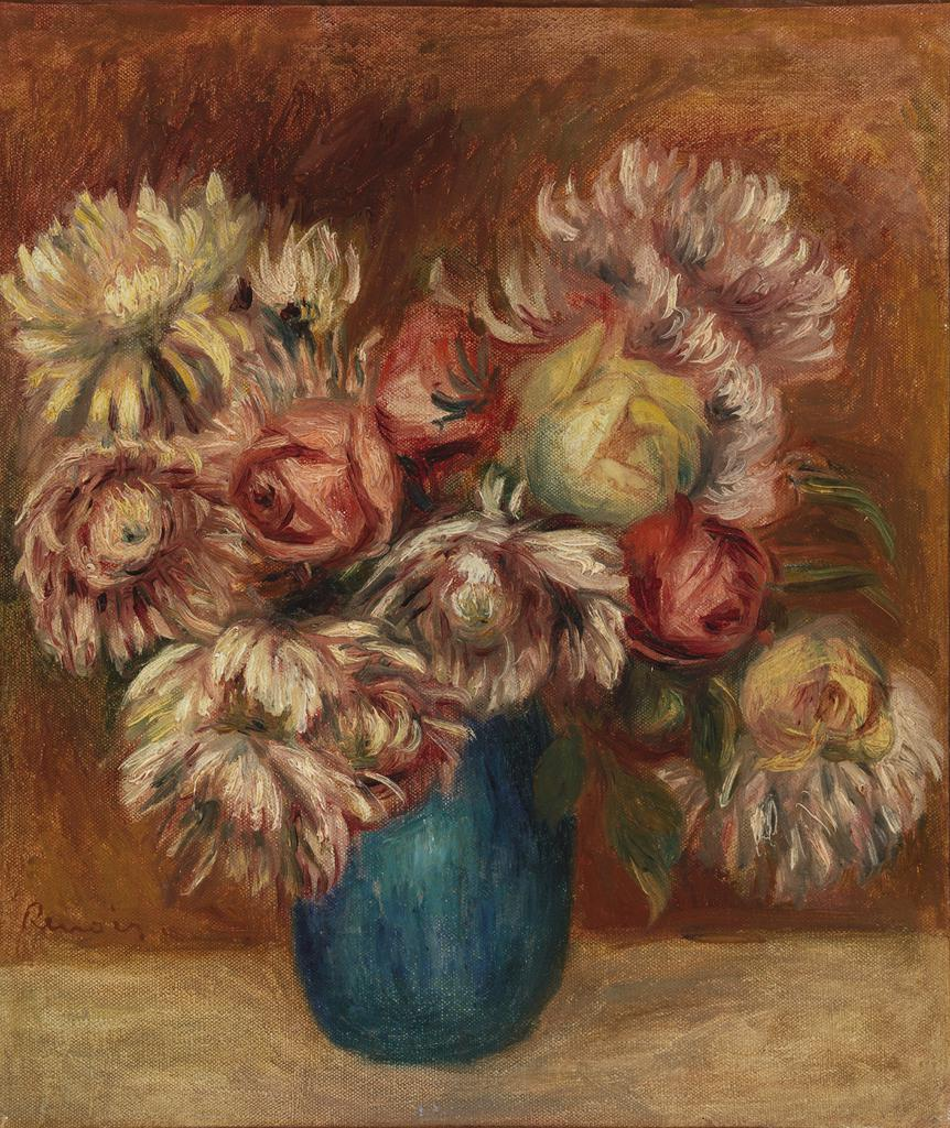 Barnes Collection Online Pierre Auguste Renoir Flowers In A Green