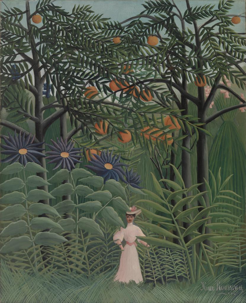 Woman Walking in an Exotic Forest (Femme se promenant dans une forêt exotique)