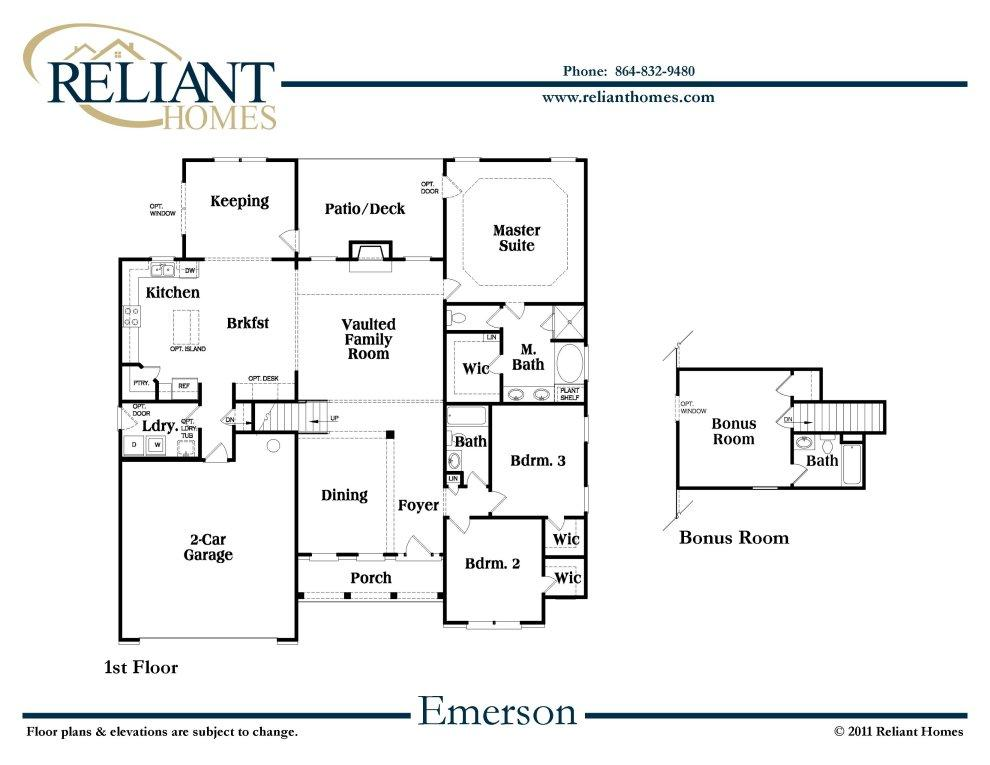 Sc emerson b reliant homes new homes in atlanta for Reliant homes floor plans