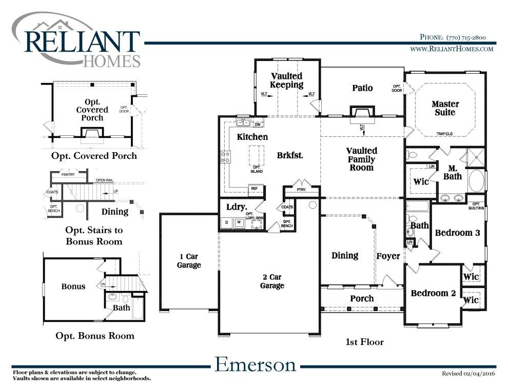 Emerson ranch a fe reliant homes new homes in atlanta for Reliant homes floor plans