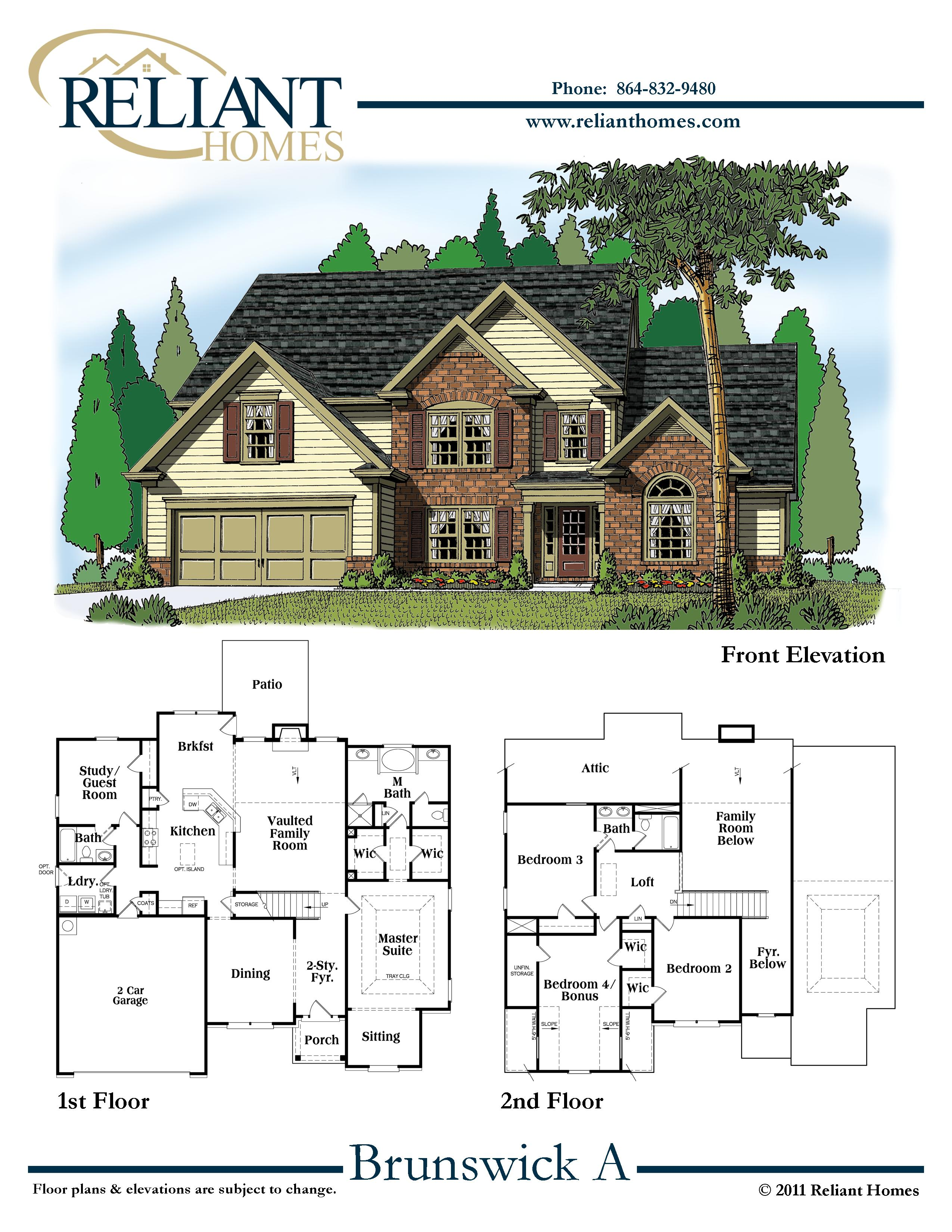 Sc brunswick a reliant homes new homes in atlanta for Reliant homes floor plans