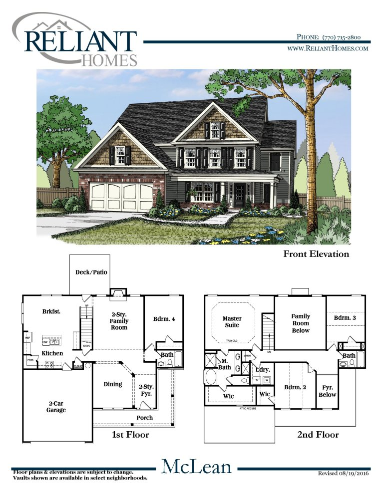 Mclean a fe reliant homes new homes in atlanta for Reliant homes floor plans