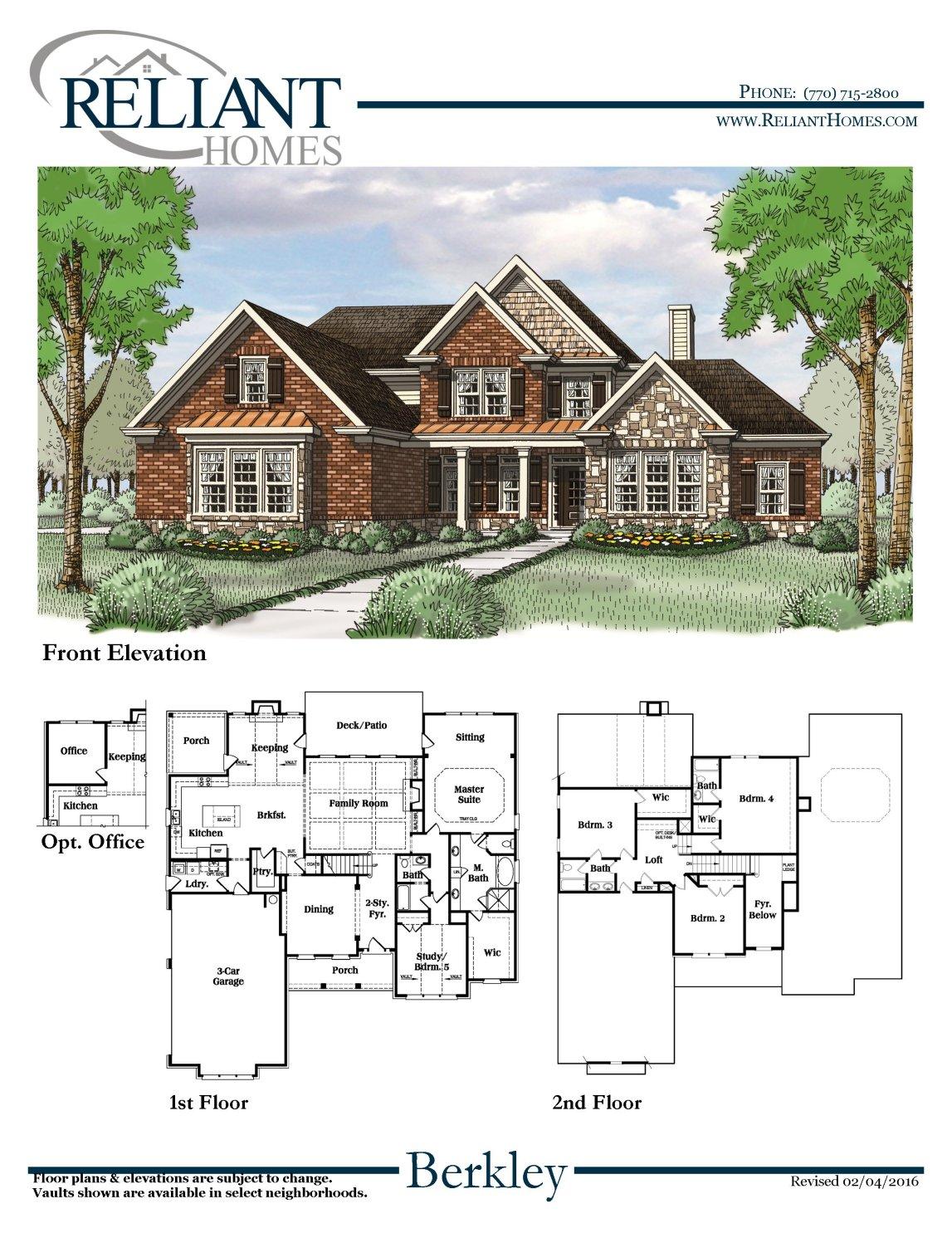 Berkley b se reliant homes new homes in atlanta for Reliant homes floor plans
