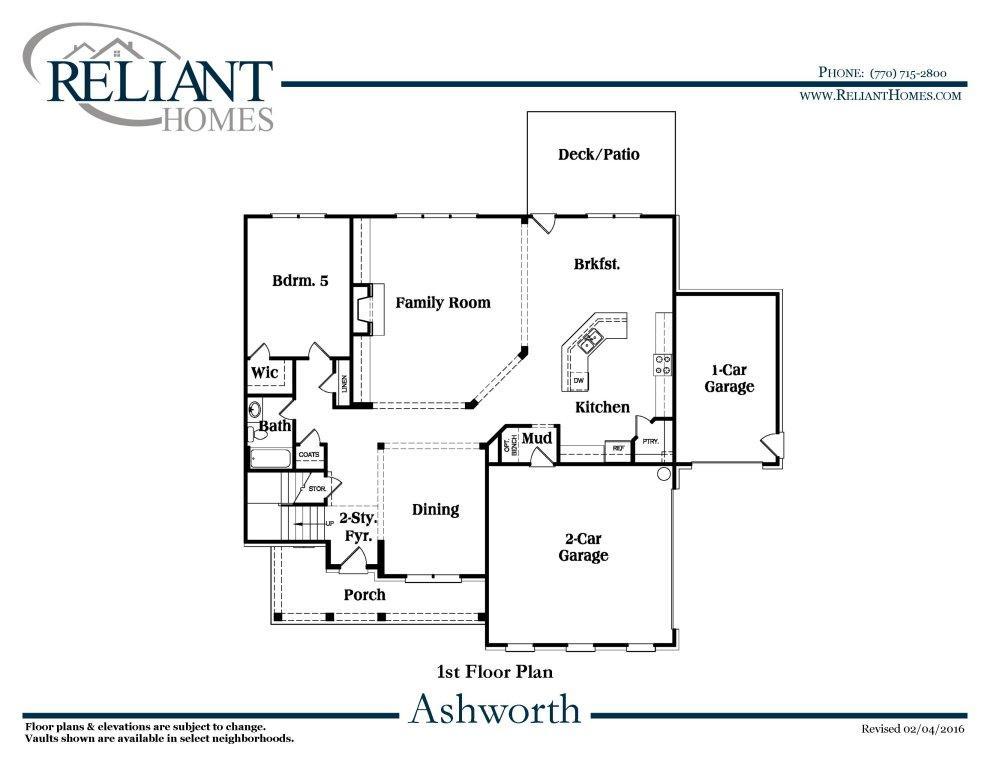 Ashworth b se reliant homes new homes in atlanta for Reliant homes floor plans