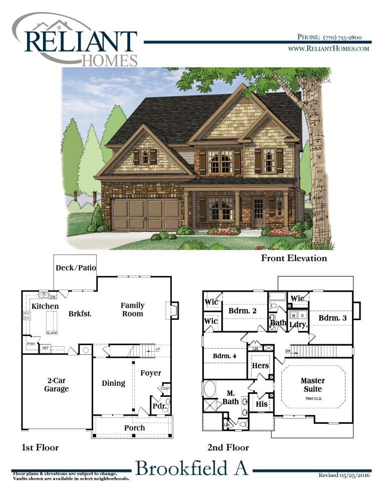 Brookfield a fe reliant homes new homes in atlanta for Reliant homes floor plans