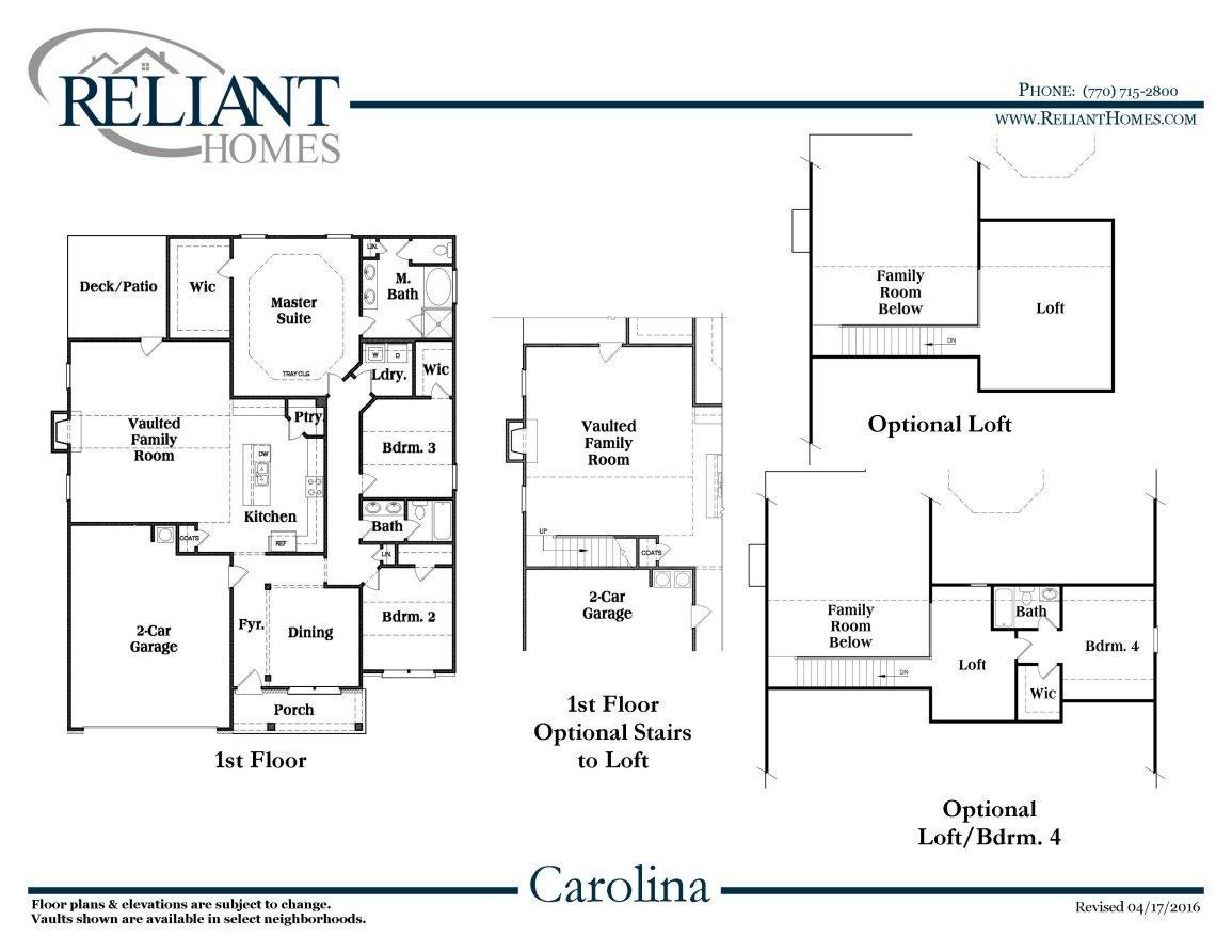 Carolina a fe reliant homes new homes in atlanta for Reliant homes floor plans