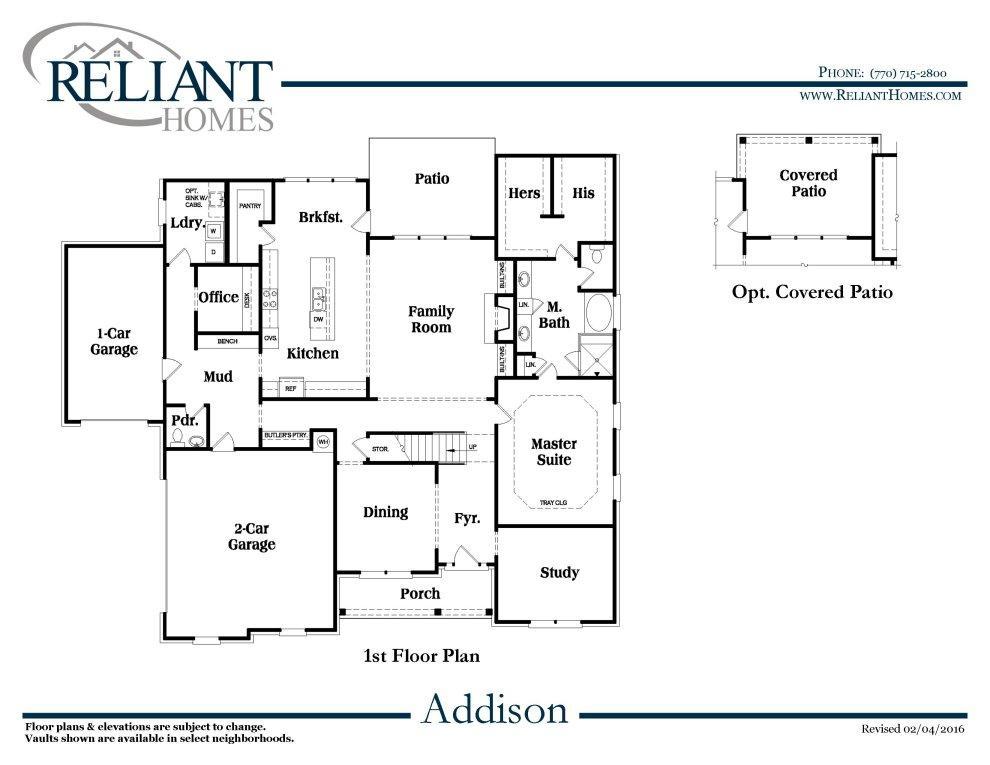 Addison floor plan addison b se reliant homes new homes in for Reliant homes floor plans