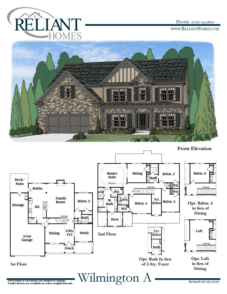 Wilmington a fe reliant homes new homes in atlanta for Reliant homes floor plans