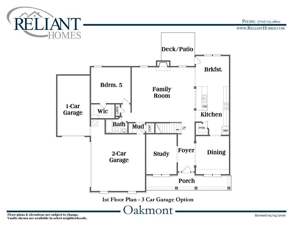 Oakmont b se reliant homes new homes in atlanta for Reliant homes floor plans