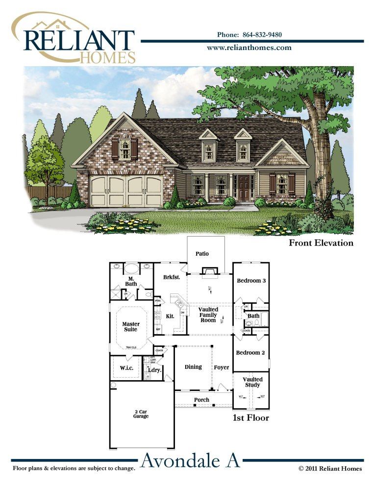Sc avondale a reliant homes new homes in atlanta for Reliant homes floor plans