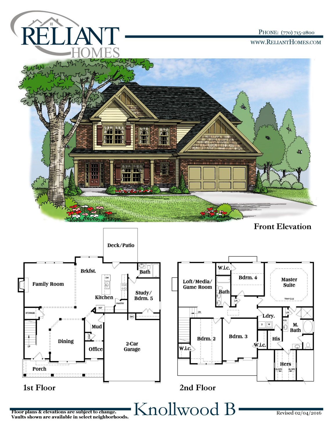 Knollwood b fe reliant homes new homes in atlanta for Reliant homes floor plans