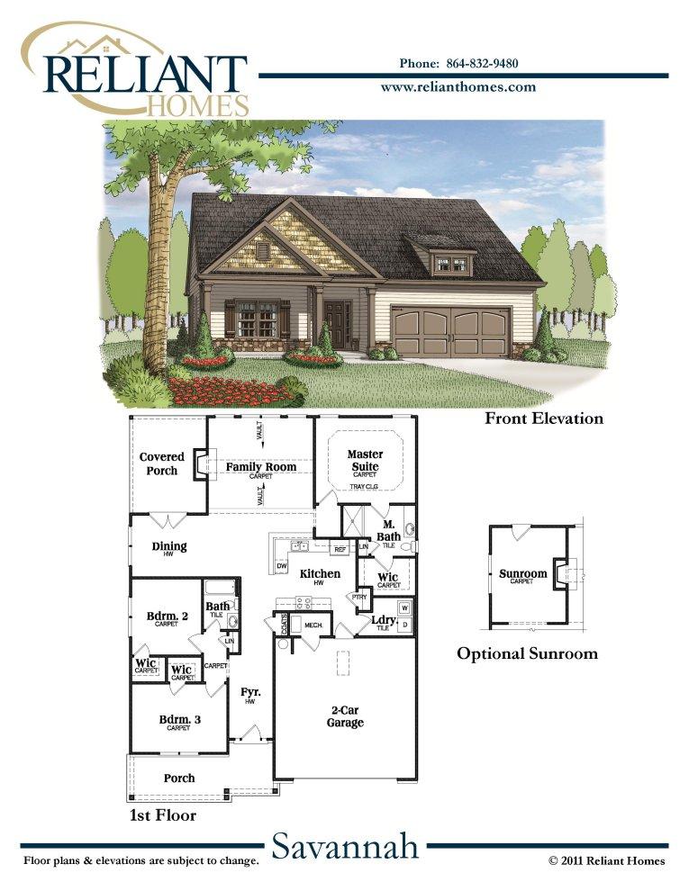 Sc savannah reliant homes new homes in atlanta for Reliant homes floor plans