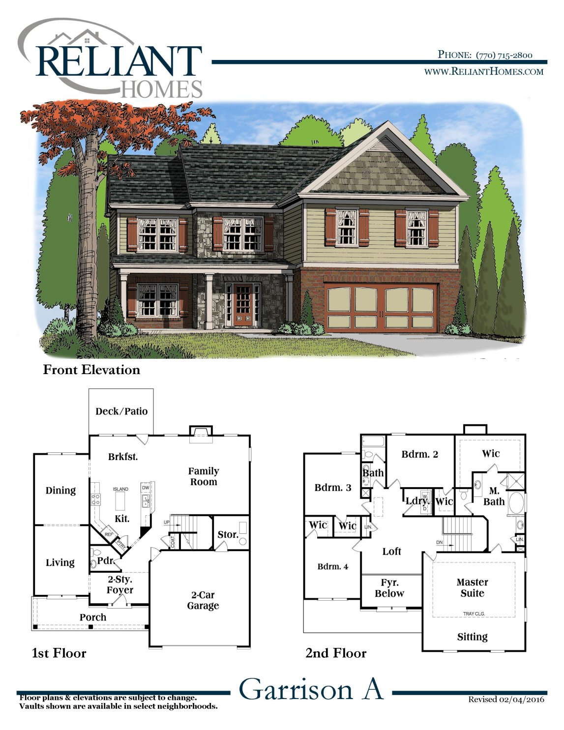 Garrison a fe reliant homes new homes in atlanta for Reliant homes floor plans
