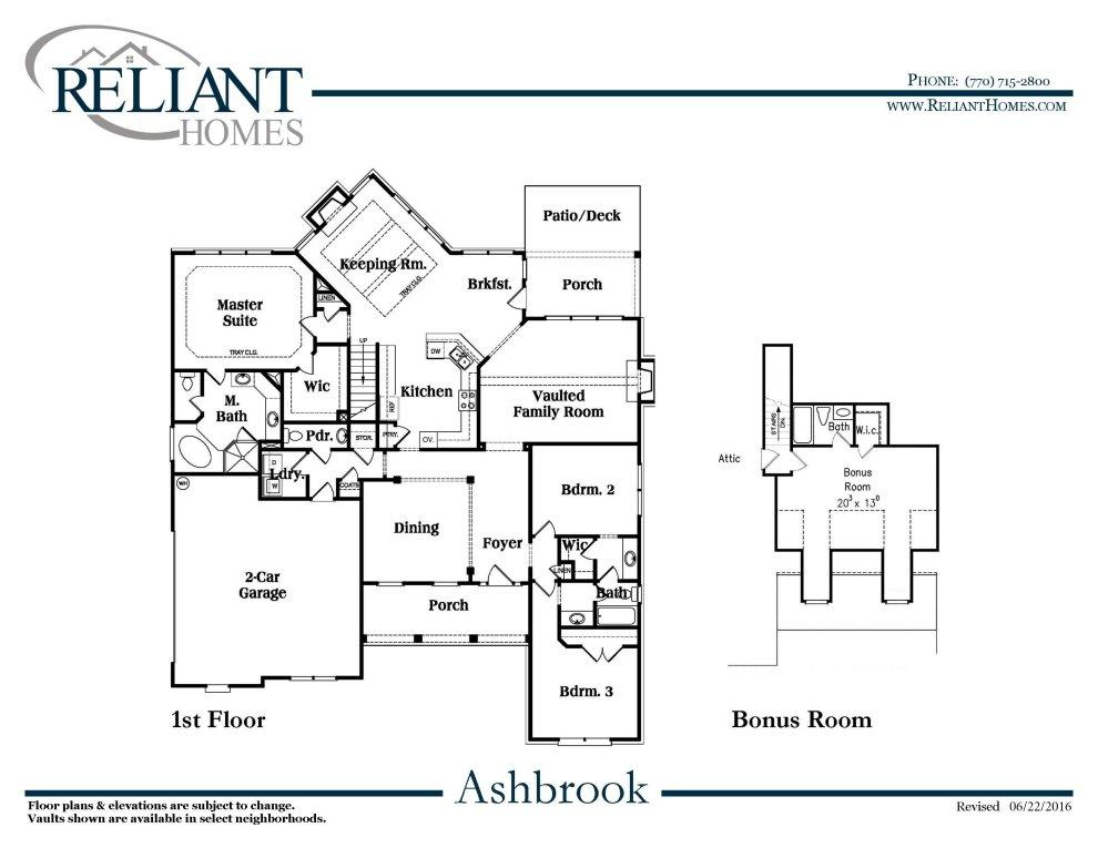 Ashbrook b se reliant homes new homes in atlanta for Reliant homes floor plans
