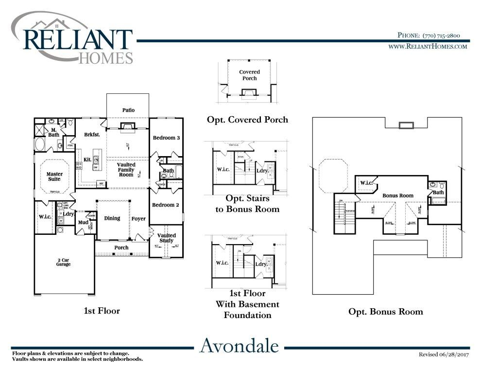 Avondale b fe reliant homes new homes in atlanta for Reliant homes floor plans