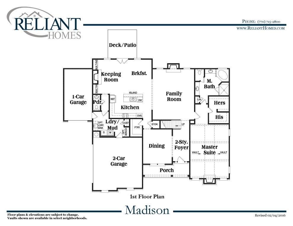 Madison b se reliant homes new homes in atlanta for Madison homes floor plans
