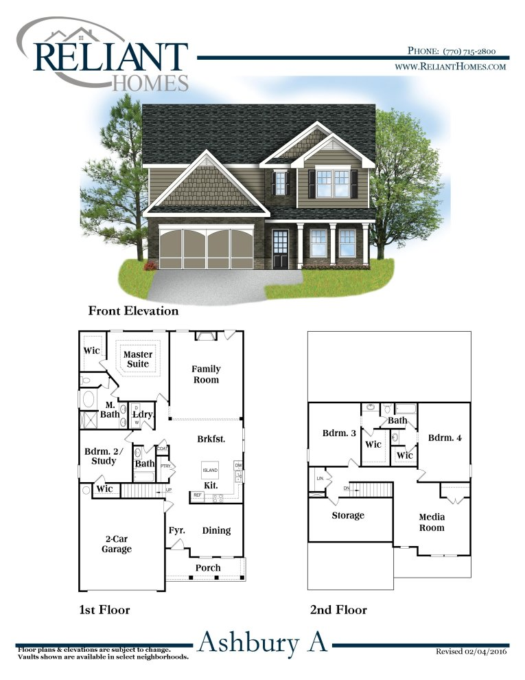 Ashbury a fe reliant homes new homes in atlanta for Reliant homes floor plans