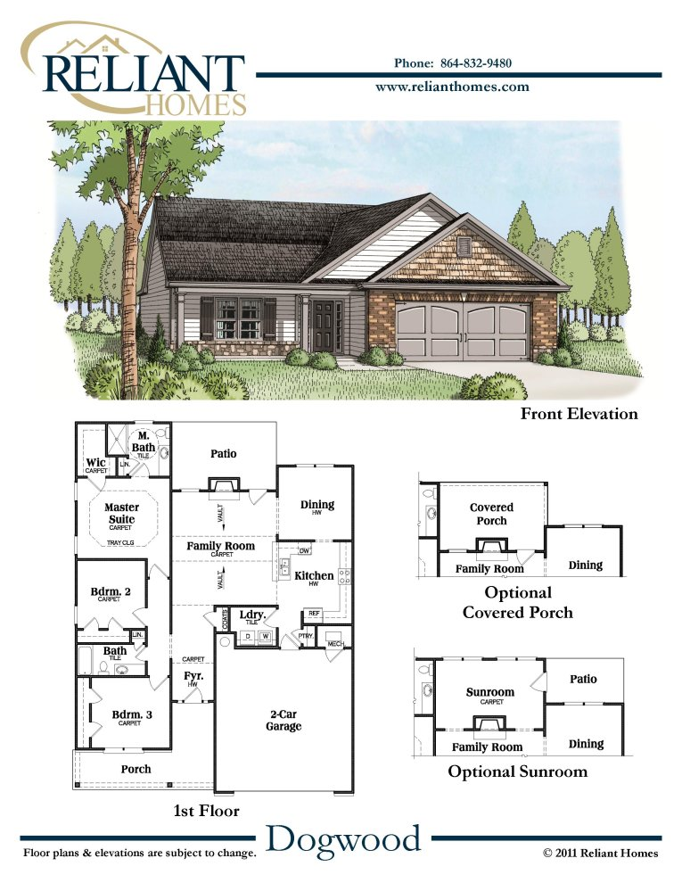 Sc dogwood reliant homes new homes in atlanta for Reliant homes floor plans