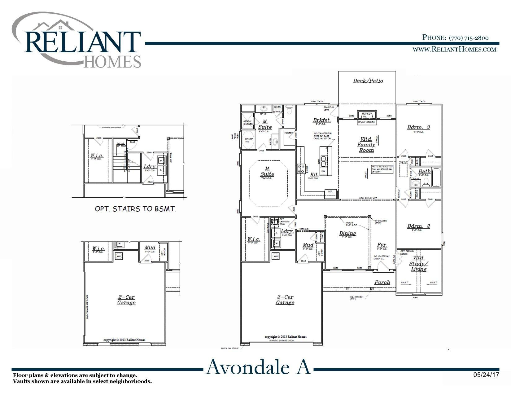 Avondale a fe reliant homes new homes in atlanta for Reliant homes floor plans