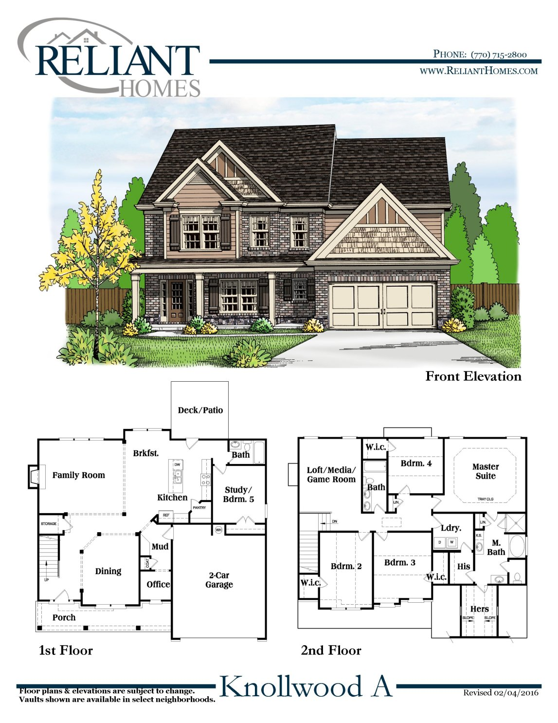 Knollwood a fe reliant homes new homes in atlanta for Suburban house blueprints