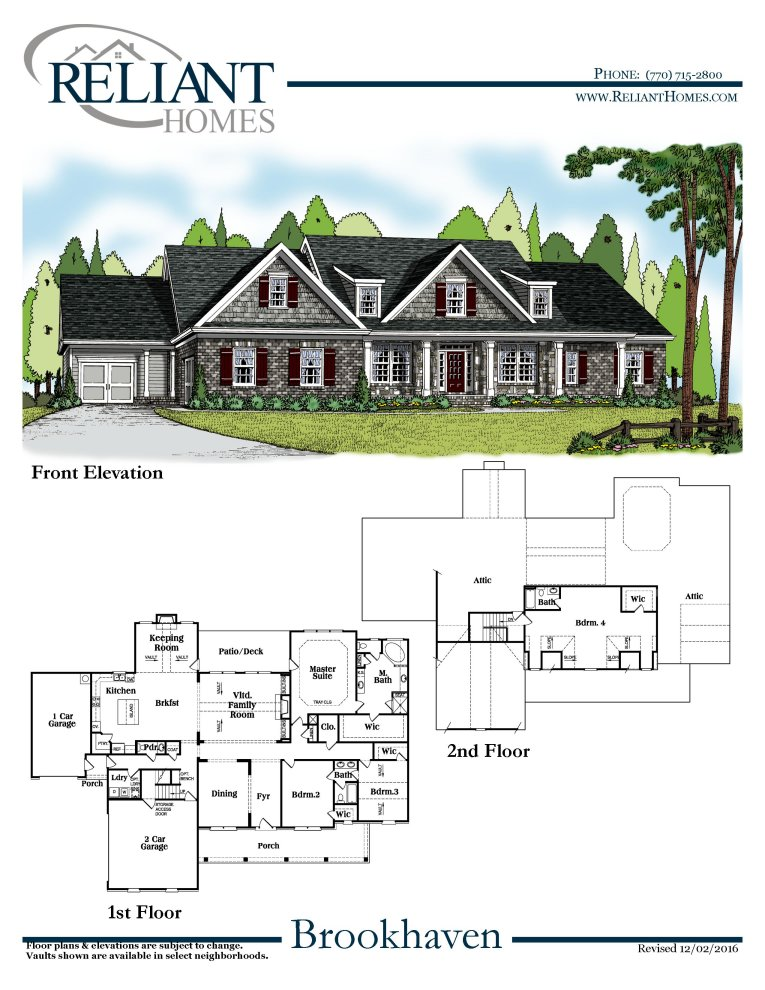 Brookhaven a se reliant homes new homes in atlanta for Reliant homes floor plans
