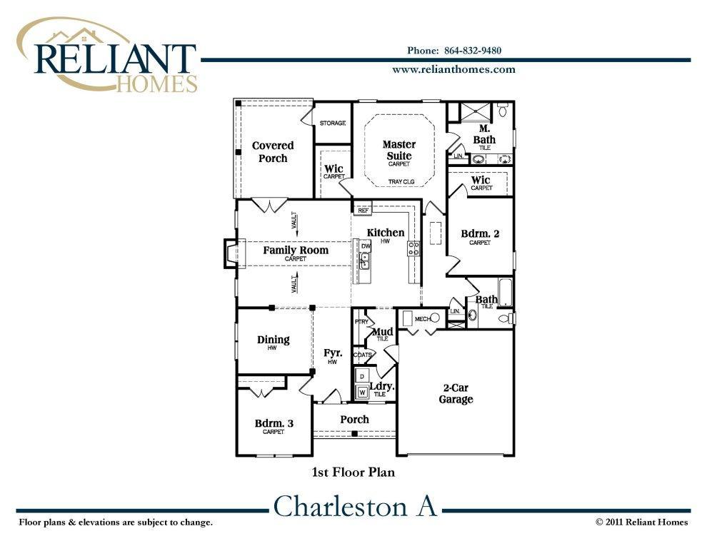 Sc charleston a reliant homes new homes in atlanta for Charleston floor plan