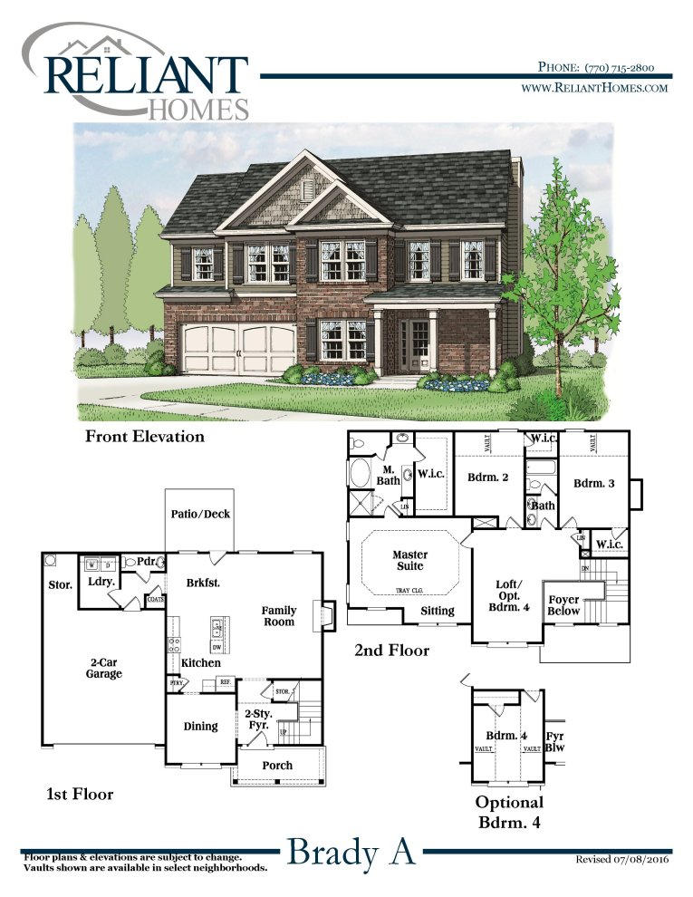 Brady a fe reliant homes new homes in atlanta for Reliant homes floor plans