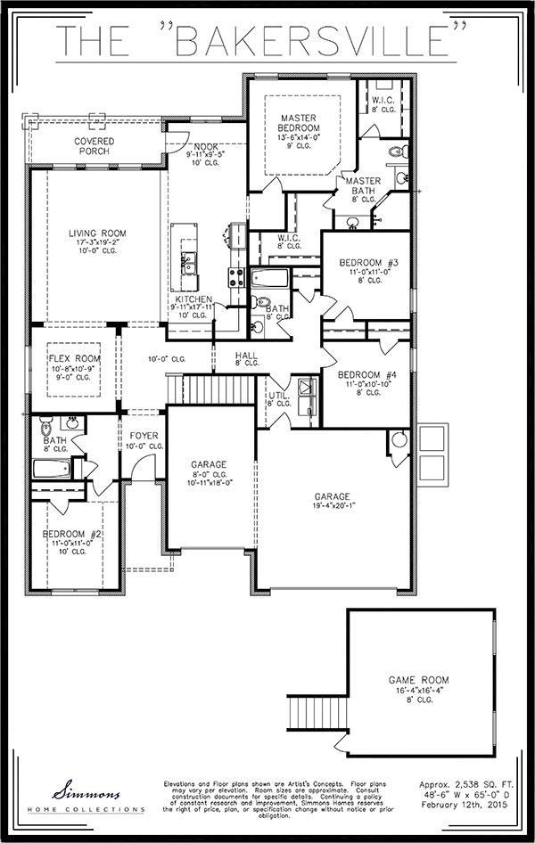 Bakersville custom home builders simmons homes for Simmons homes floor plans