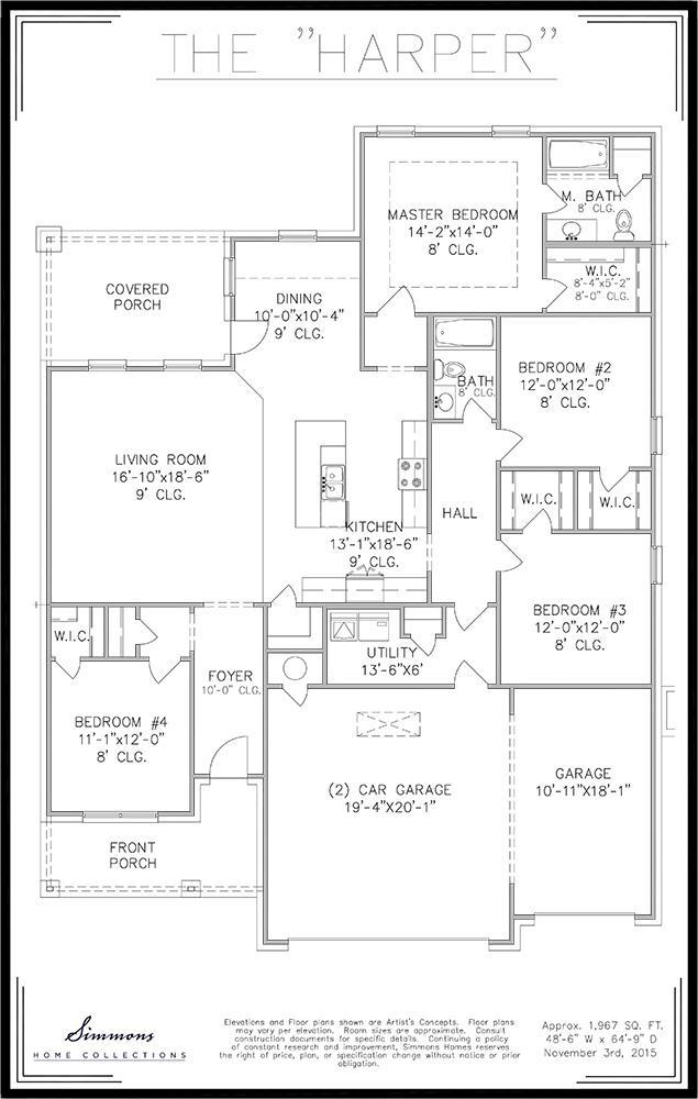 Harper custom home builders simmons homes for Simmons homes floor plans