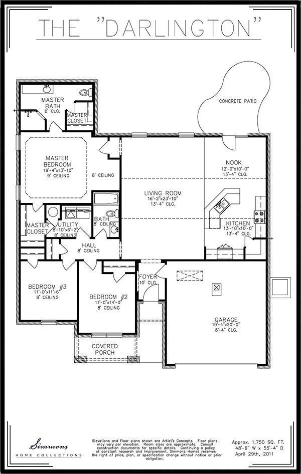 Darlington custom home builders simmons homes for Simmons homes floor plans