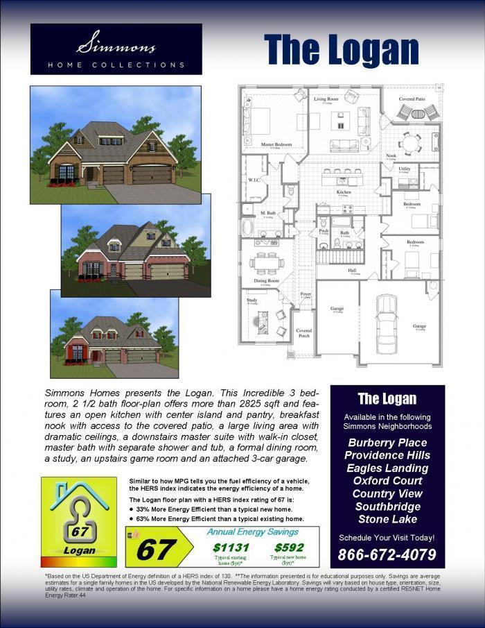 Logan custom home builders simmons homes for Simmons homes floor plans