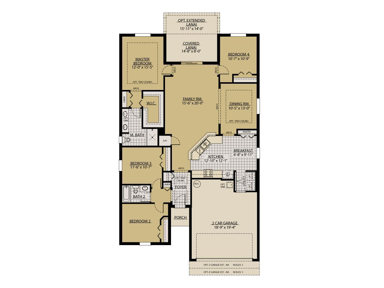 Car Garage Floor Plan: Sweetwater 3-Car Garage