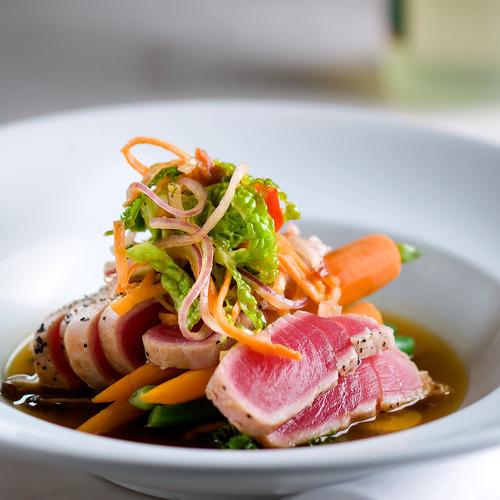 Seared tuna wine cutlery