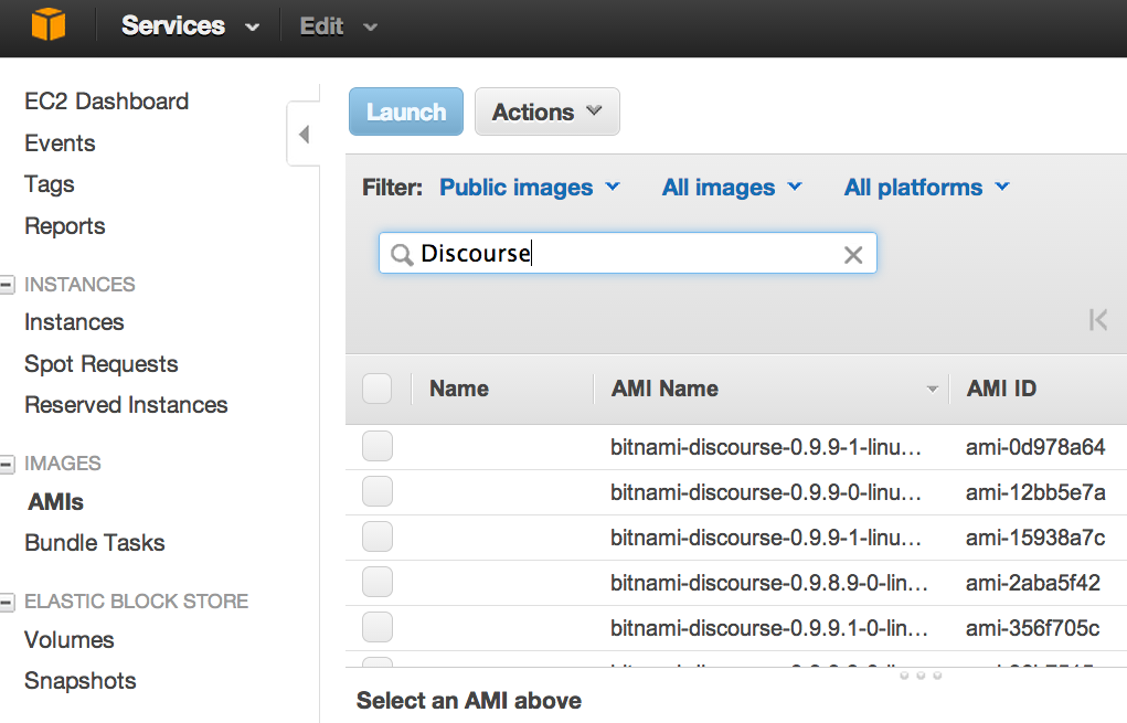 AMI search results for Discourse forum application.