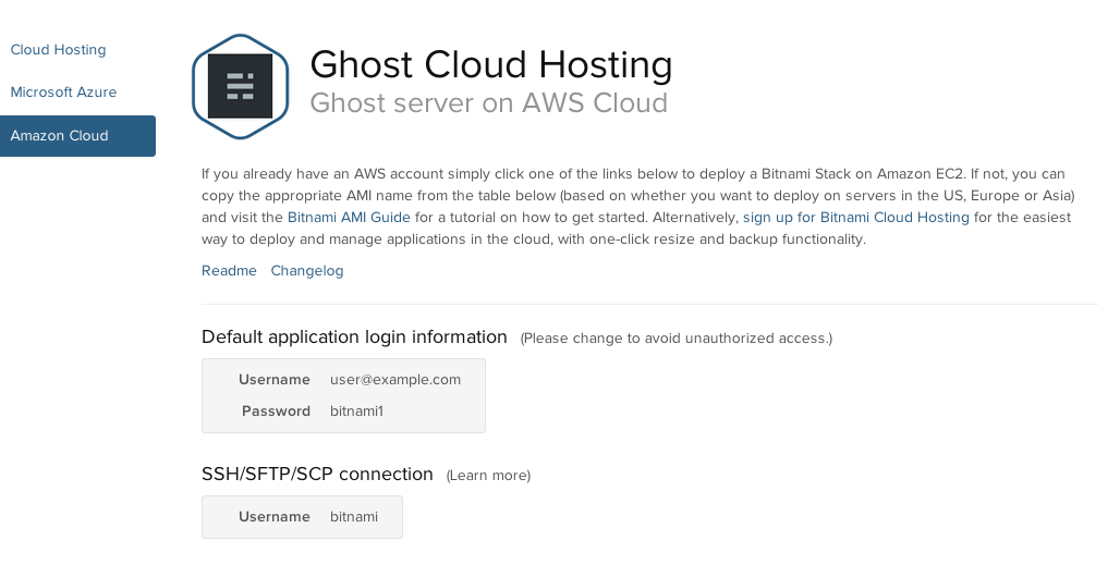 Details for the Bitnami Machine Image for Ghost offered through AWS