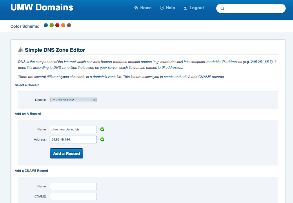 Adding A Record using Simple DNS Editor in cPanel so isntance of Ghost has a clean URL