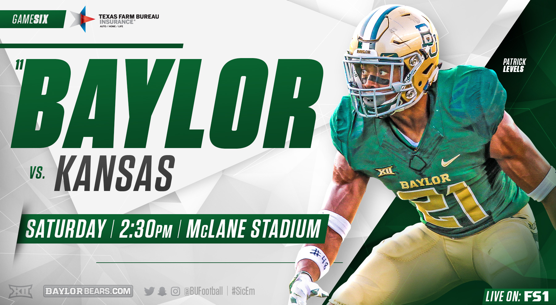 No 11 8 Football Hosts Kansas For Homecoming Baylor University