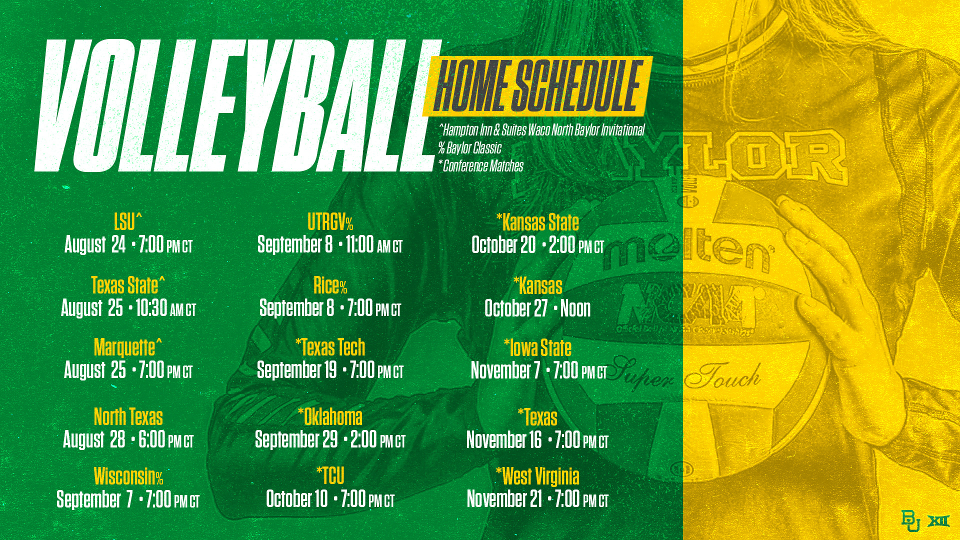 Baylor Volleyball Announces 2018 Fall Schedule Baylor