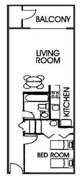 SeaTime Condominium 1 bedroom floor plan