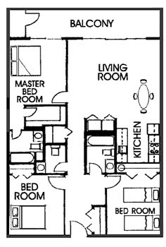 SeaTime Condominium 3 bedroom floor plan