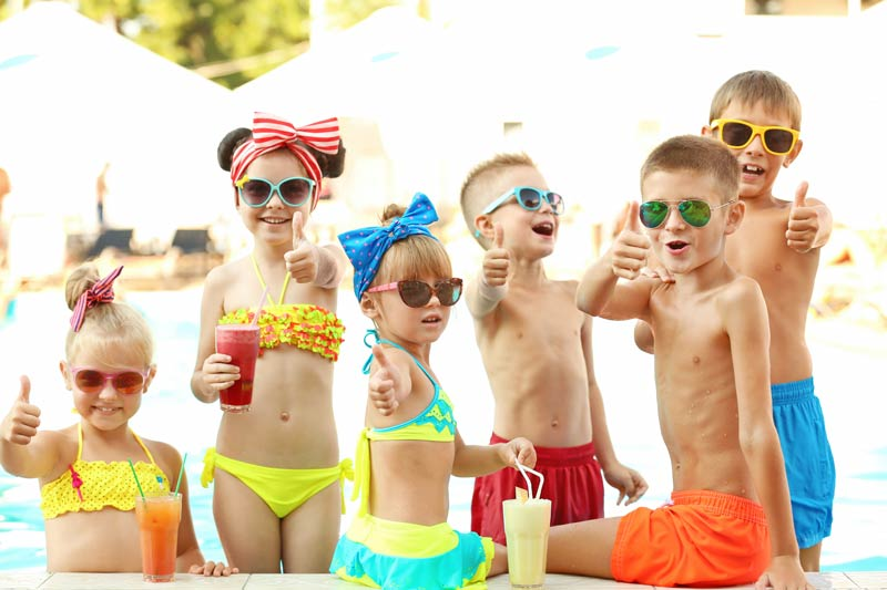 Kids Pool party with frozen drinks