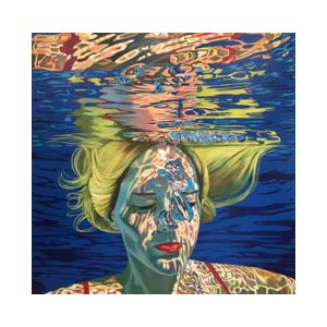 painting of woman's face under water