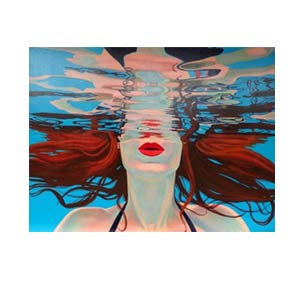 painting of woman neck under water with red flowing hair