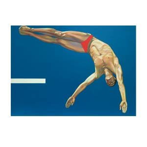 painting of man jumping of diving board