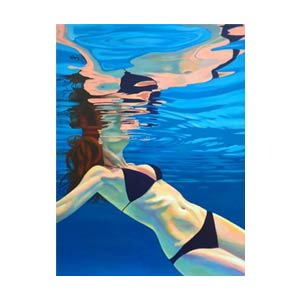 painting of woman's body under water