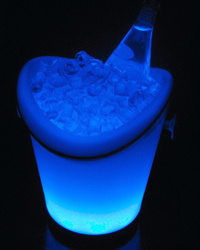 complimentary champagne ice bucket blue