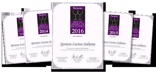Sprazzo Wine Spectator Awards