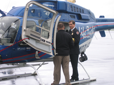 Chief Groves welcomes the Life Flight Network to Eugene after working to bring Air Medical Transport to our community