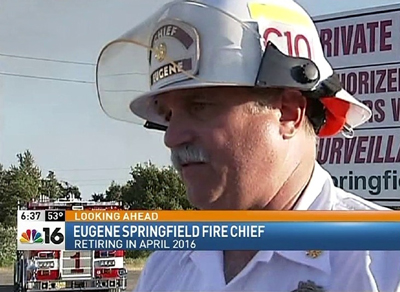 Chief Randy Groves, media file footage from the Springfield Swanson's Mill Fire, photo used to announce his retirement, April 2016
