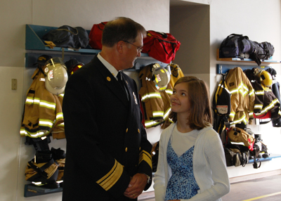 Eugene Fire Chief Randy Groves after being sworn in as Springfield Fire Chief at the beginning of the merger process of the Eugene and Springfield fire departments, July 1, 2010